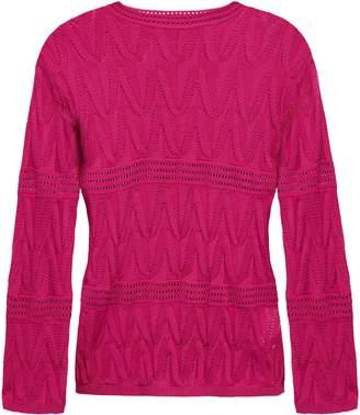 M Missoni Pointelle-knit Wool-blend Top