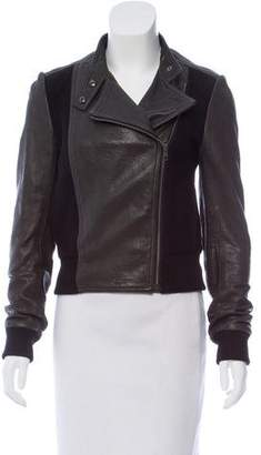 Theory Leather Knit-Trimmed Jacket