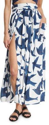 Mara Hoffman Bird-Print Slit-Front High-Waist Belted Maxi Skirt, White/Blue $195 thestylecure.com