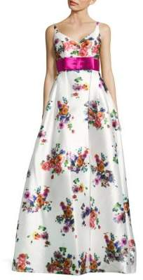 Mac Duggal Floral-Print V-Neck Gown
