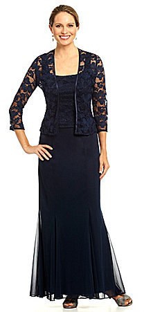 Alex Evenings Floral Lace Jacket Dress