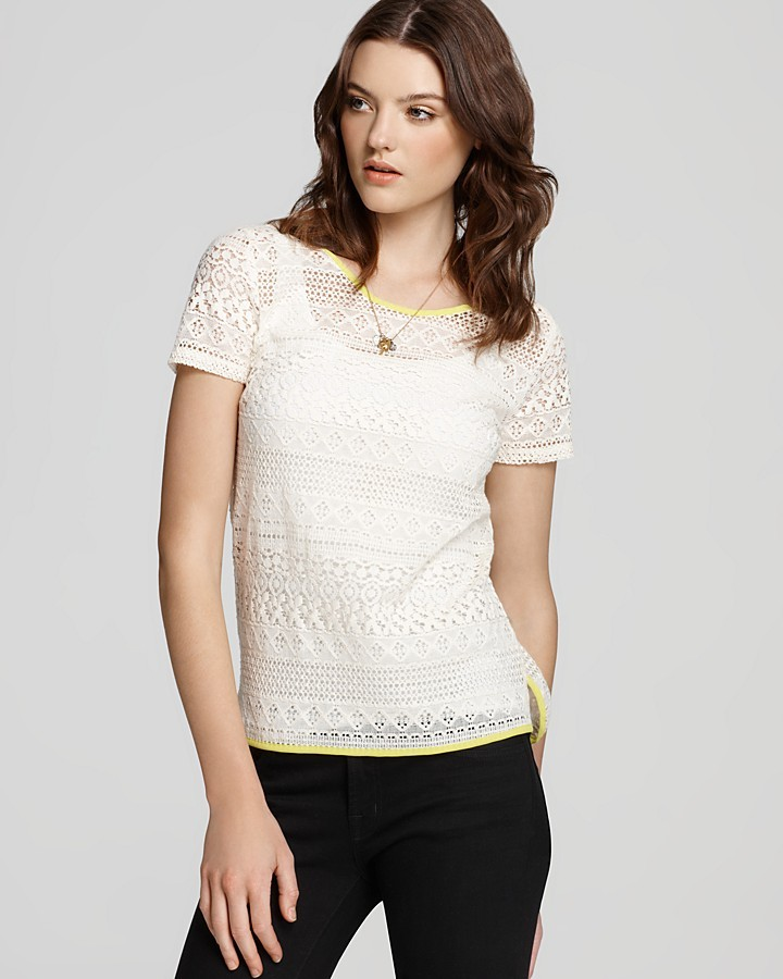 Aqua Tee Shirt - Cotton Crochet Lace