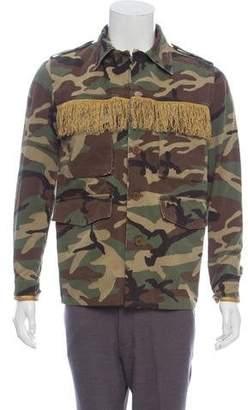 Saint Laurent 2015 Fringe-Accented Camouflage Jacket