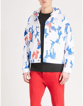 424 Camouflage hooded denim jacket