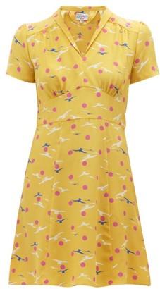 HVN Morgan Seagull Print Silk Mini Dress - Womens - Yellow