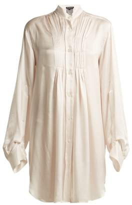 Ann Demeulemeester Long Line Silk Blend Blouse - Womens - Light Pink