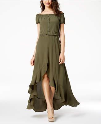 B. Darlin Juniors' Off-The-Shoulder High-Low Maxi Dress