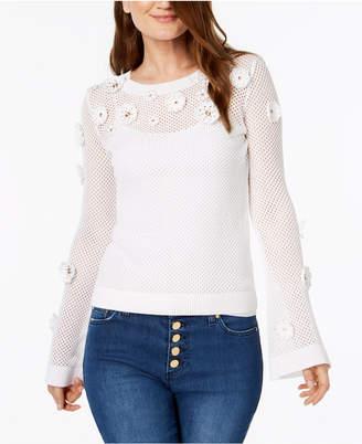 Michael Kors Cotton Embellished Mesh Sweater