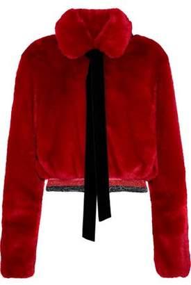Ainea Cropped Metallic-Trimmed Faux Fur Jacket