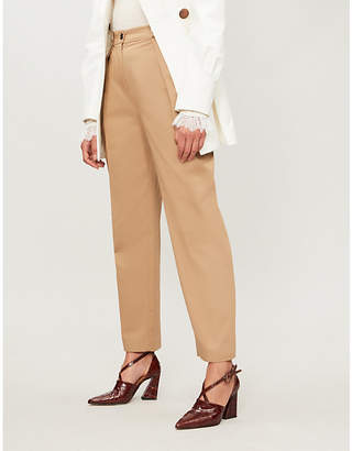 Claudie Pierlot Paloma tapered high-rise cotton-twill trousers