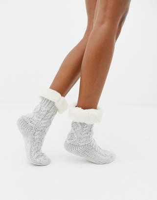 New Look Faux Fur Trim Slipper Socks