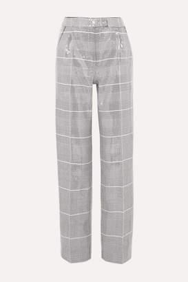 Rasario Sequined Checked Tweed Straight-leg Pants - Gray