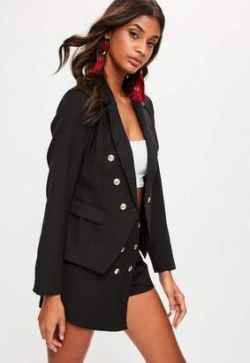 Missguided Black Pink Tailored Military Blazer Jacket