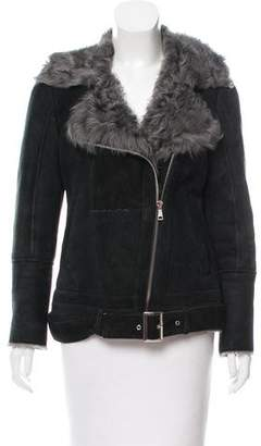 Scoop Buckle-Accented Shearling Jacket