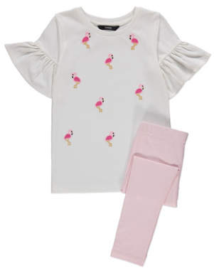 George White Flamingo Print T-Shirt and Leggings Outfit