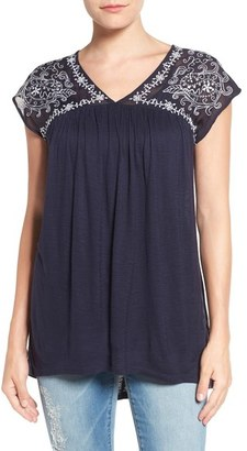 Lucky Brand Embroidered Sheer Yoke V-Neck Top $59.50 thestylecure.com