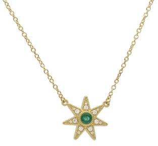 Ripka Juliette Emerald, Pave Diamond and 14K Yellow Gold Star Pendant Necklace