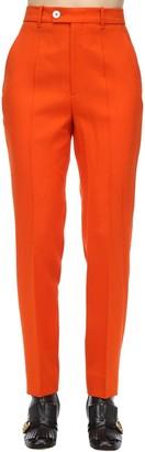 Gucci HIGH WAIST WOOL BLEND GABARDINE PANTS
