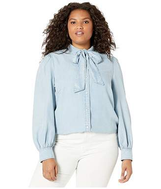 Lauren Ralph Lauren Plus Size Chambray Tie Neck Shirt