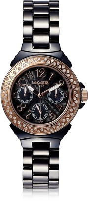 Lancaster Ceramic Diamonds Black Multifunction Quartz Movement Watch