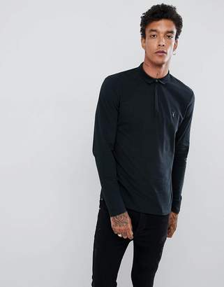 AllSaints long sleeve polo shirt in black