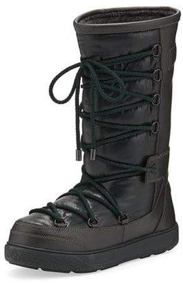 Moncler Laetitia Leather Lace-Up Boot, Black