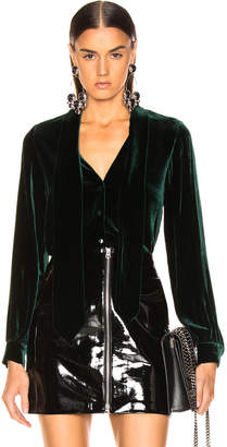 L'Agence Gisele Neck Tie Blouse in Forest Green | FWRD