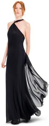 Max Studio translucent silk charmeuse long column dress