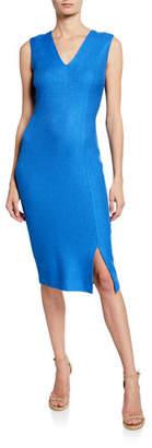 St. John Sarga Knit Twill V-Neck Sleeveless Dress with Slit