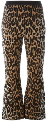 Stella McCartney flared cheetah jacquard trousers