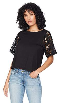 Romantic Dreamers Womens Round Neck Novelty Lace Elbow Sleeve Top
