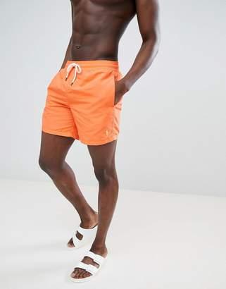 Polo Ralph Lauren Traveller Swim Shorts Player Logo In Bright Orange