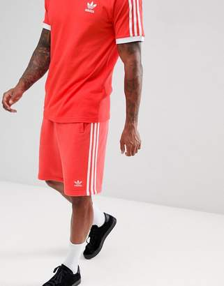 adidas 3-Stripe Jersey Shorts In Red DH5800