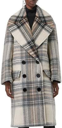 Burberry Halliday Plaid Wool Peacoat