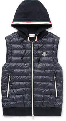 Moncler Slim-Fit Quilted Shell And Loopback Cotton-Jersey Hooded Gilet