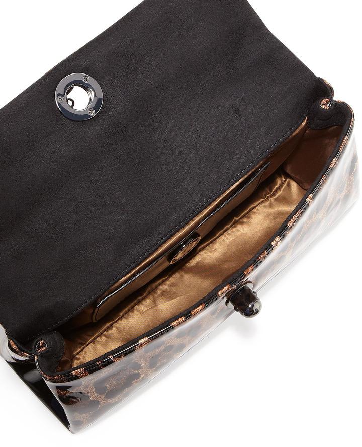 Moschino Small Leopard-Print Tassel Shoulder Bag, Maroon