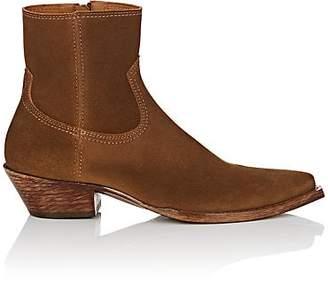 Saint Laurent Women's Lukas Suede Ankle Boots - Beige, Tan