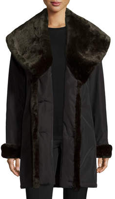 Jane Post Faux-Fur-Trim Double-Breasted Coat, Black/Brown