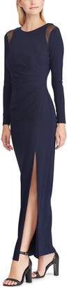 Chaps Women's Mesh Trim Jersey Evening Gown