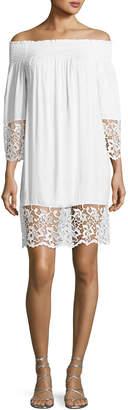 Lise Charmel Plage et Ville Off-the-Shoulder Lace-Trim Dress, White