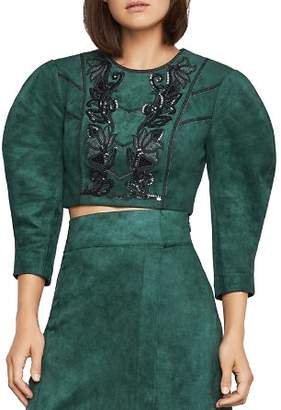 BCBGMAXAZRIA Embroidered Faux Suede Cropped Top
