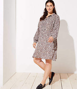 LOFT Plus Leopard Print Flare Shirtdress