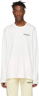 Essentials White Logo Long Sleeve T-Shirt