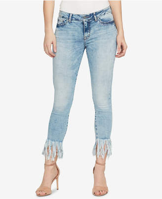 William Rast Contrast-Cuff Kick-Flare Skinny Jeans