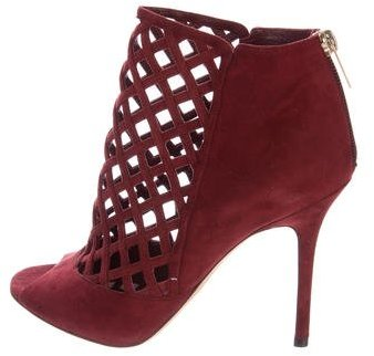 Jimmy Choo Jimmy Choo Suede Peep-Toe Booties