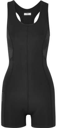 Fendi Roma Printed Mesh-paneled Stretch Bodysuit - Black