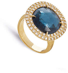 Marco Bicego Jaipur 18k London Blue Topaz & Diamond Cocktail Ring