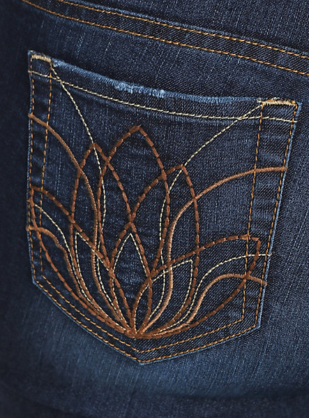 Torrid Denim Slim Boot Jean - Dark Wash Wash with Embroidered Lotus