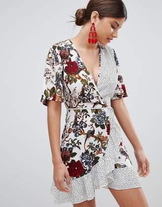 Missguided Floral & Polka Dot Wrap Tea Dress