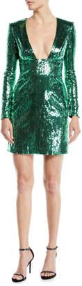 Dundas Long-Sleeve Deep-V Open-Back Sequin Mini Cocktail Dress